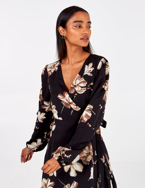 JANNAH - Large Floral L/Slv Wrap Dress