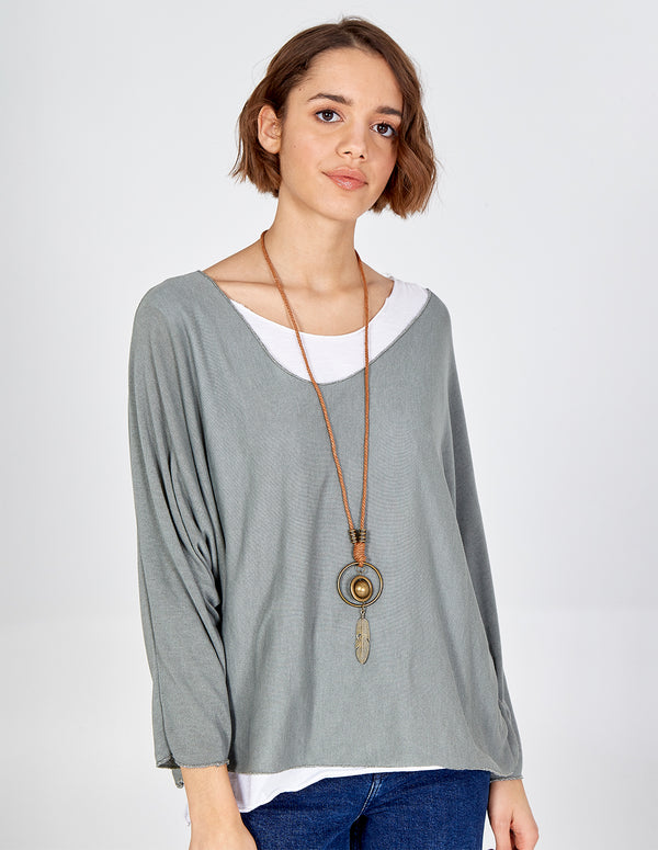 ADELINE - 3 In 1 Batwing Necklace Top
