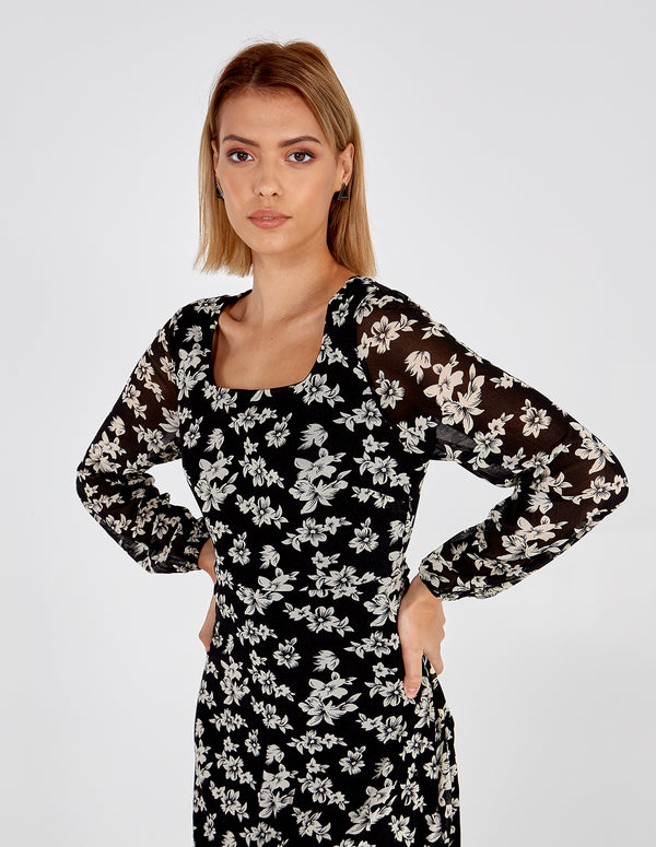 KORNELIA - Square Neck Floral Long Sleeve Dress