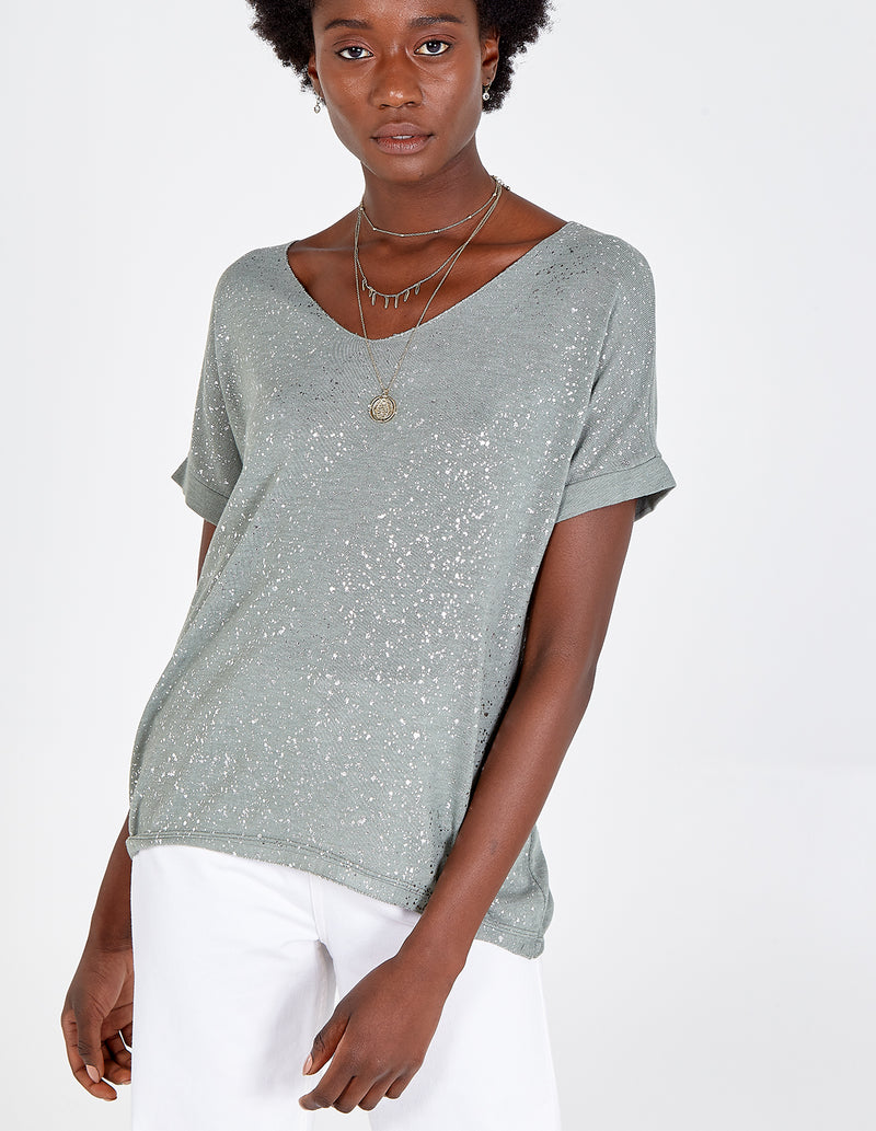 HAWA - Silver Splatter Top