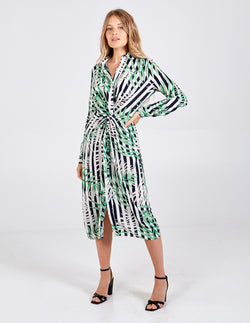 LOTUS - Striped Front Knot Leaf Shirt Dress