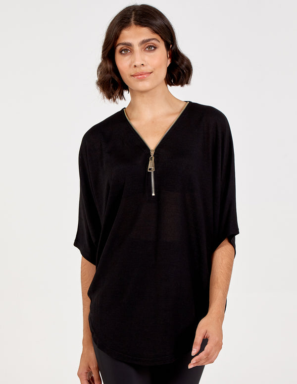 BETTINA - Zip Front Oversized Batwing Top