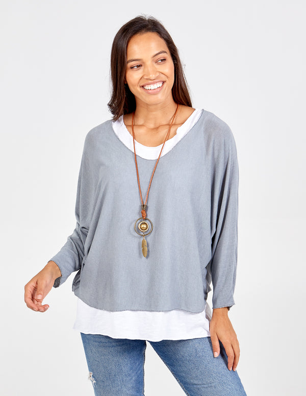 FARRAH - Batwing Necklace Top