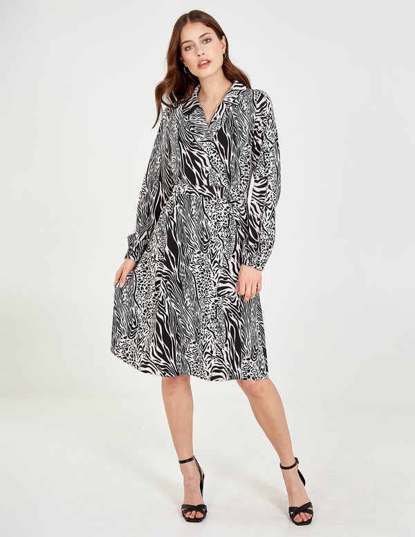 SASKIA - Animal Collar Hanky Hem Midi Dress