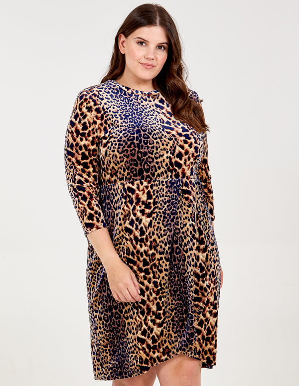 LORETTA - Curve Soft Touch Leopard Print Dress