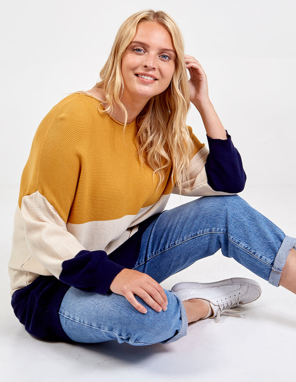 GEMMA - Curve Ribbed Oversized Colour Block Jumper