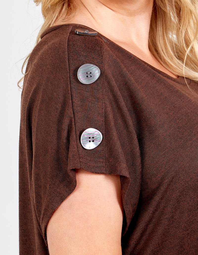 ANTONIA - Curve Button Detail Casual Top