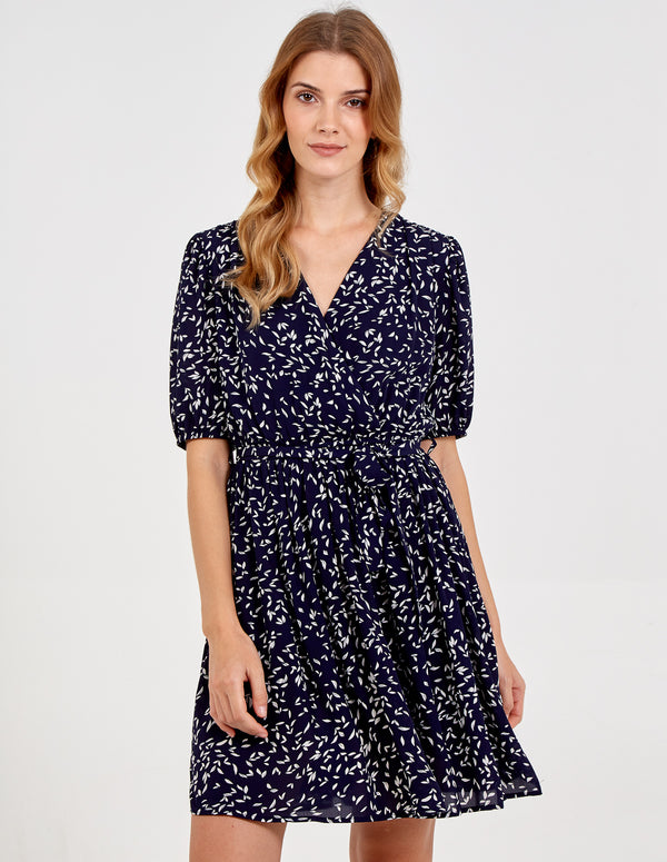 FORTUNATA - Puff Short Sleeve Wrap Front Dress