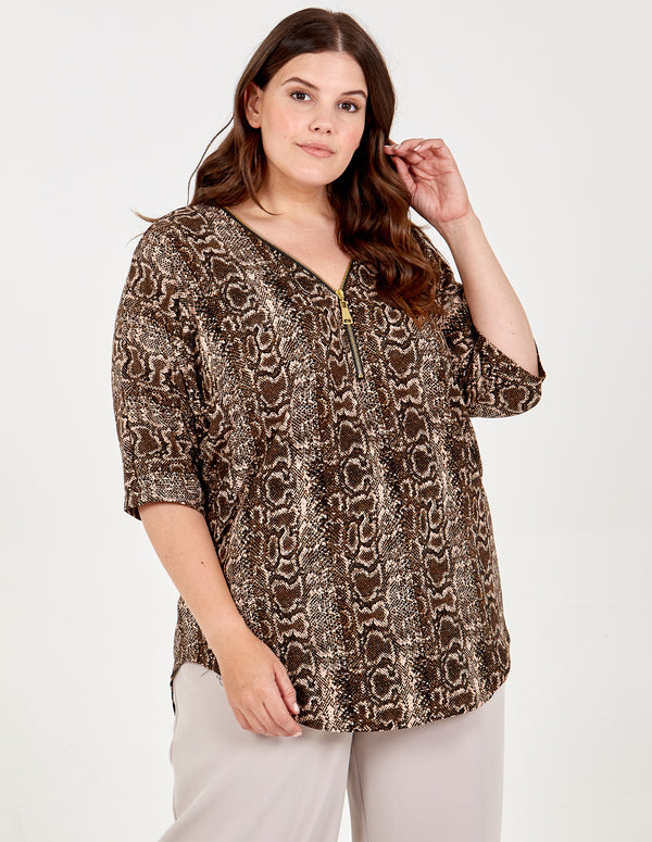 LAURA - Curve Zip Front Oversized Snakeskin Top
