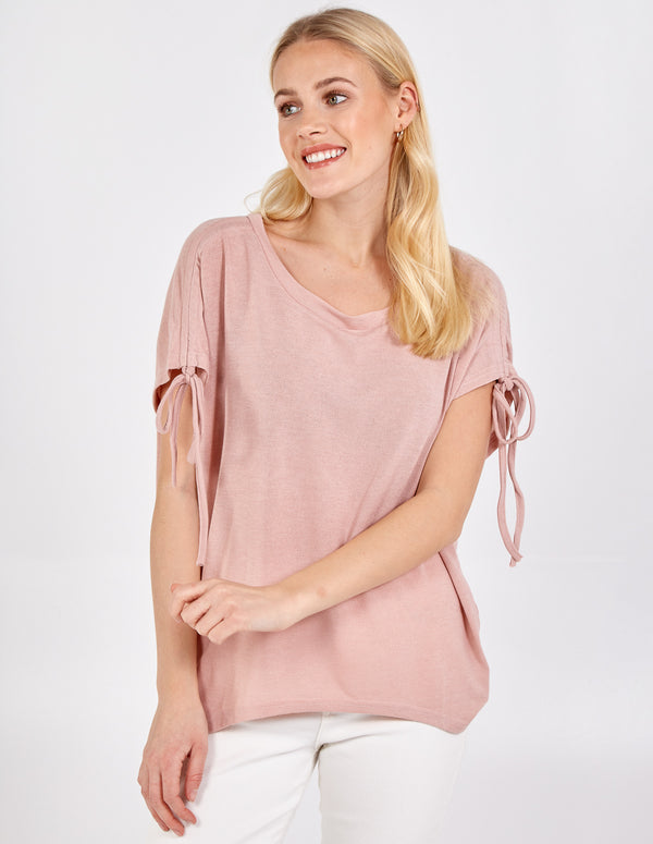 AMELIA - Drawstring Ruched Sleeve Shoulder Top