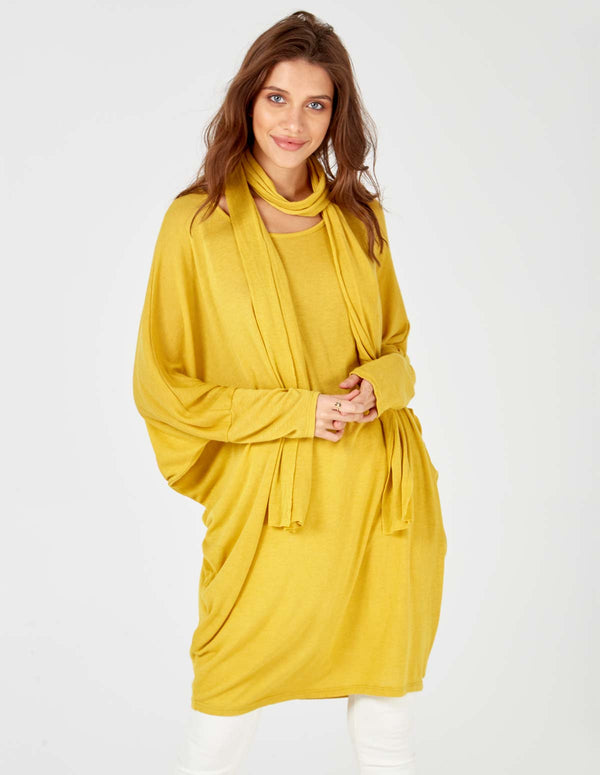 ANAMIKA - Oversized Mustard Top With Scarf