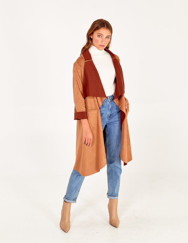 CAPRICE - Suedette Drape Front Jacket In Tan