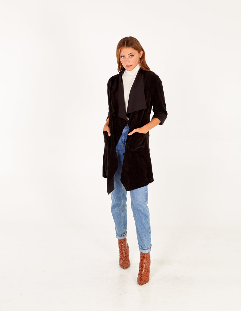 FLAVIA - Black Drape Front Jacket With Roll Sleeves