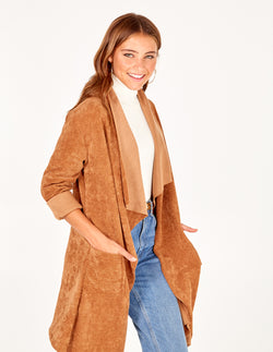 FLAVIA - Tan Drape Front Jacket With Roll Sleeves