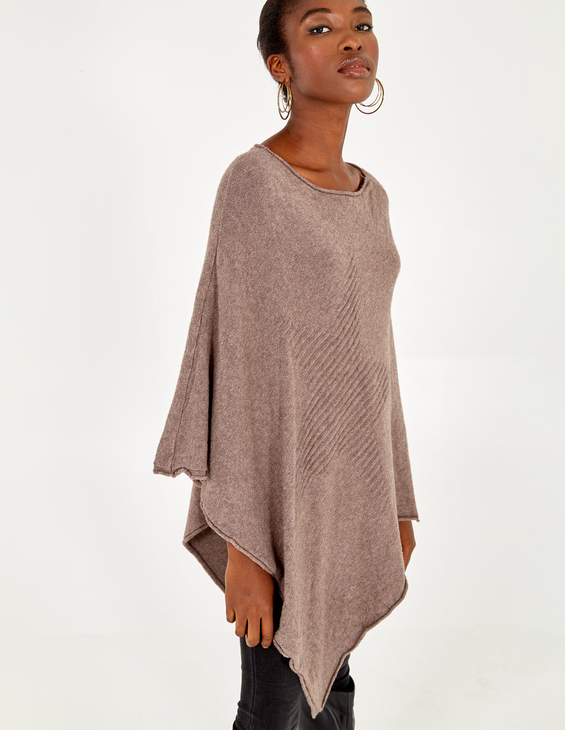ADRIANA - Mocha  Knitted Poncho With Star Detail
