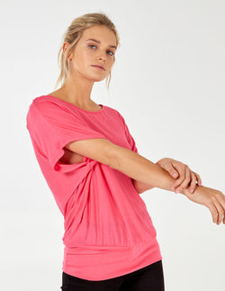 COREY - Plain Tight Hip Oversized Pink Top
