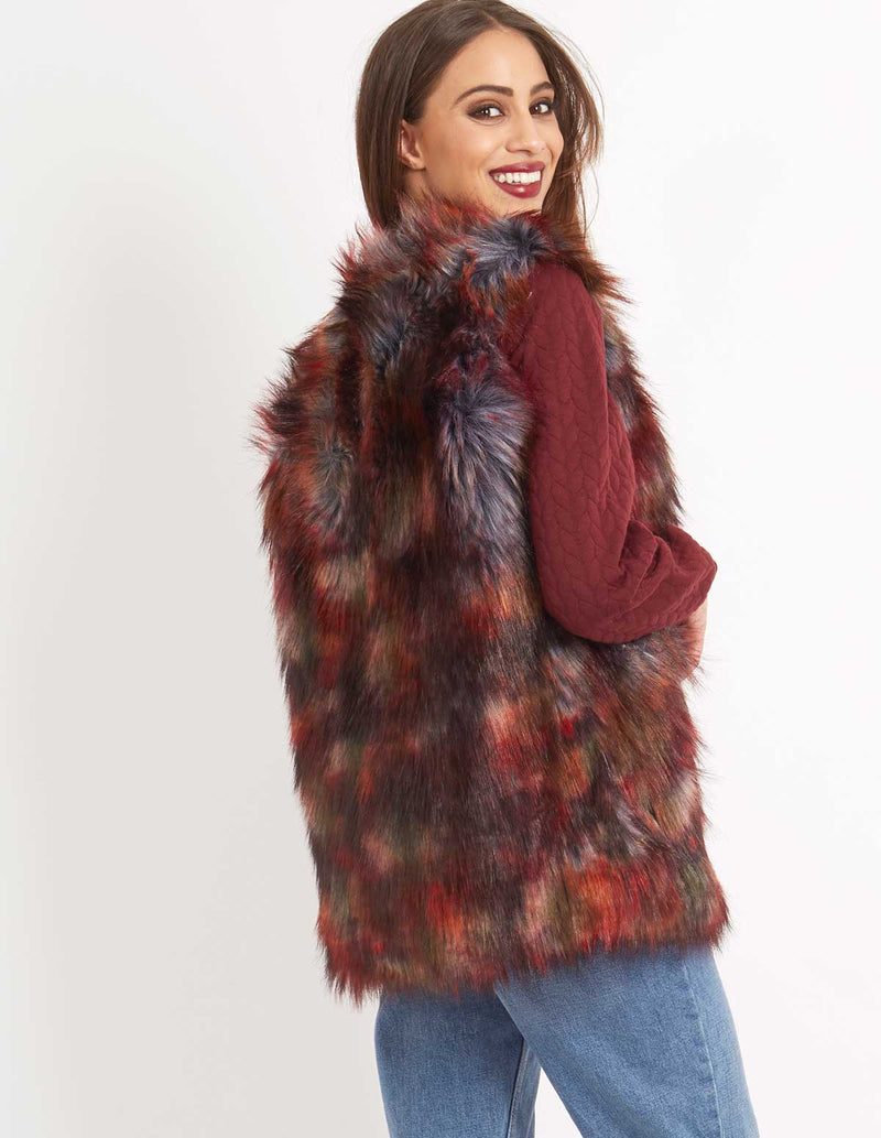 MINETTE - Faux Fur Gilet Vest Multi Colour
