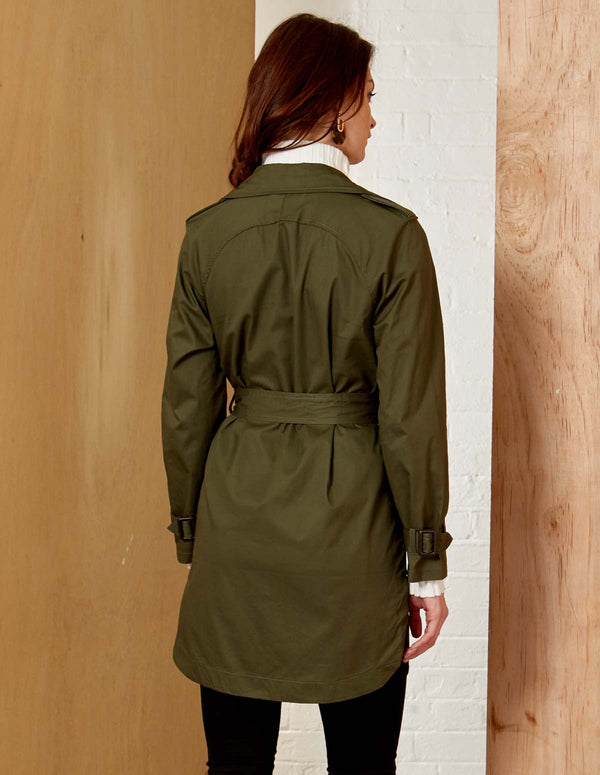 SHEETAL - Double Breasted Khaki Mac Jacket