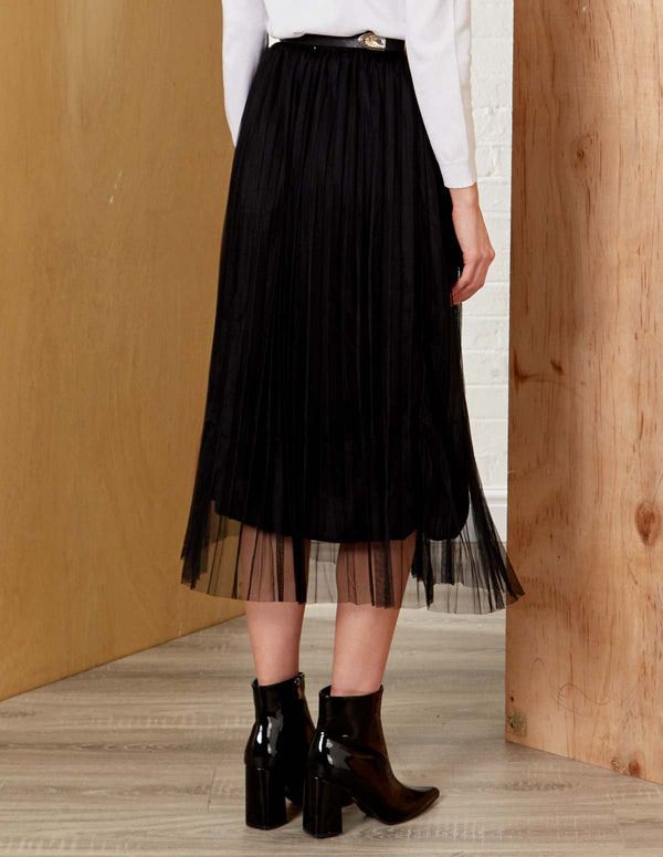 ISABEL - Midi Black Tulle Skirt