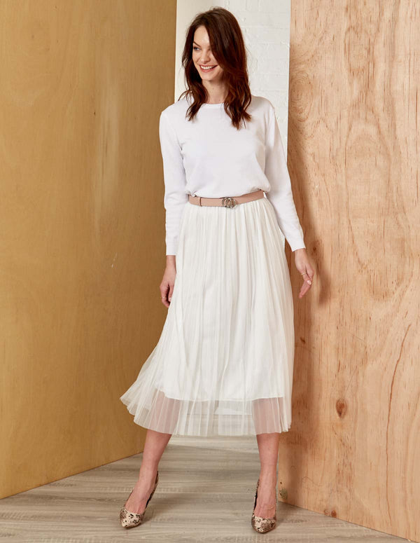 ISABEL - Midi White Tulle Skirt