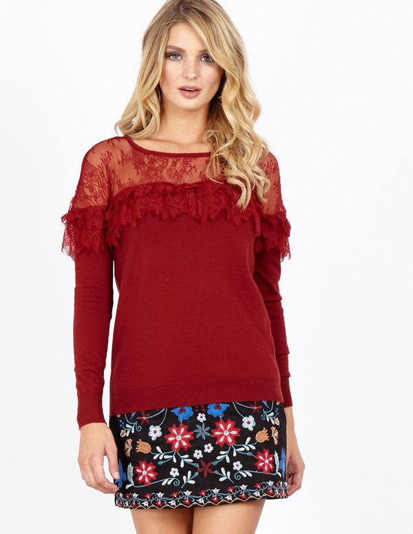 JOVIE - Lace Frill Lace Neck Wine Jumper