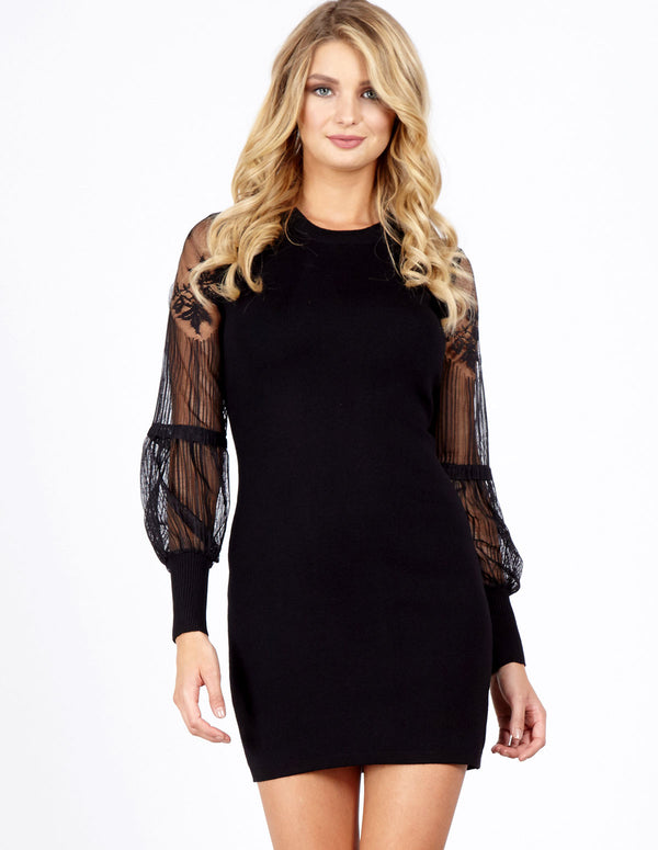 AINARA - Lace Sleeve Knitted Black Dress