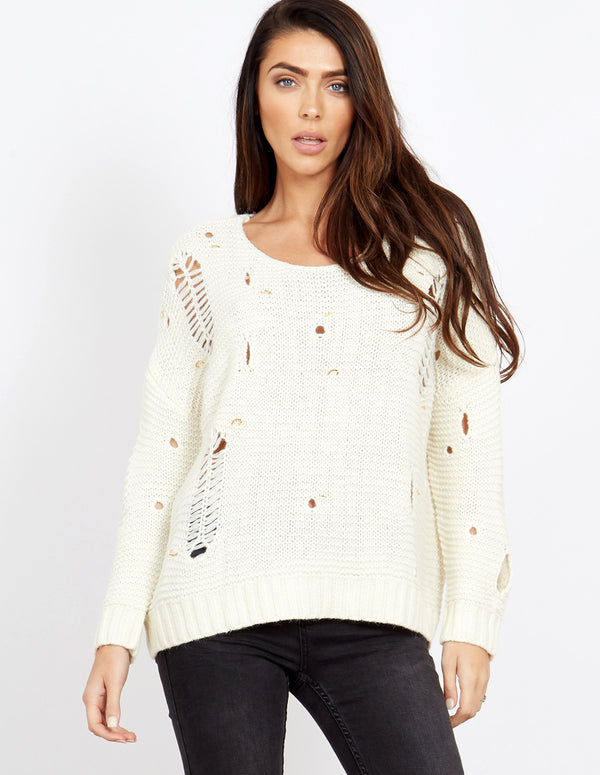 FILIA - Ripped Detail Round Neck Cream Jumper