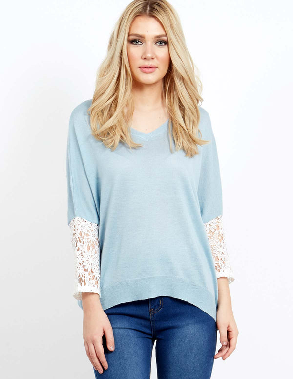 NOELIA - V-Neck Lace Sleeve Batwing Blue Top