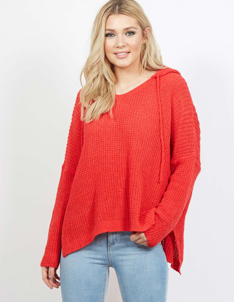LEIRE - Chenille Hooded Red Jumper