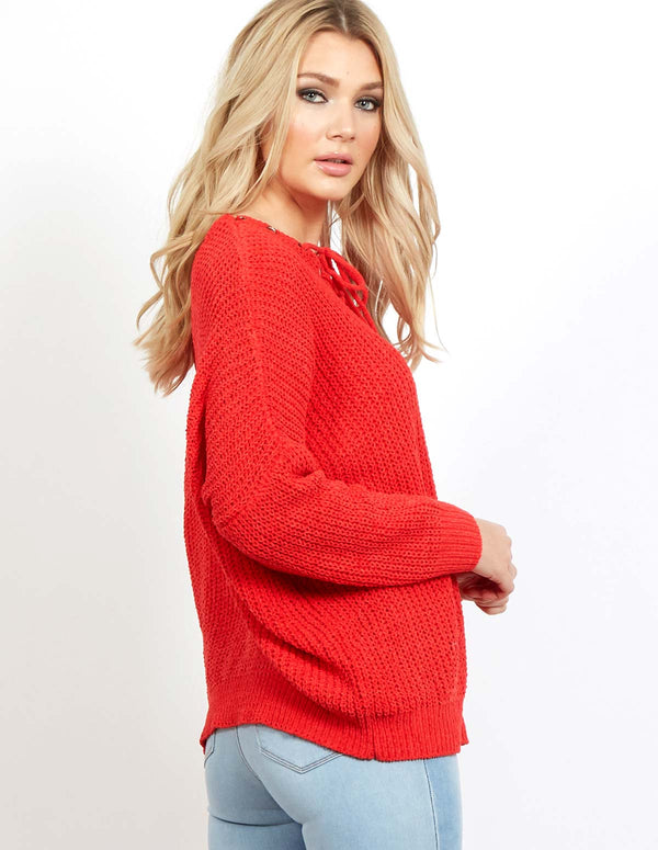 DARBY - Tie Front Chenille Red Jumper