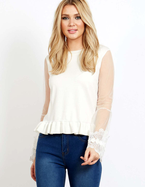 OANEZ - A Line Lace Crochet Sleeve Ivory Top