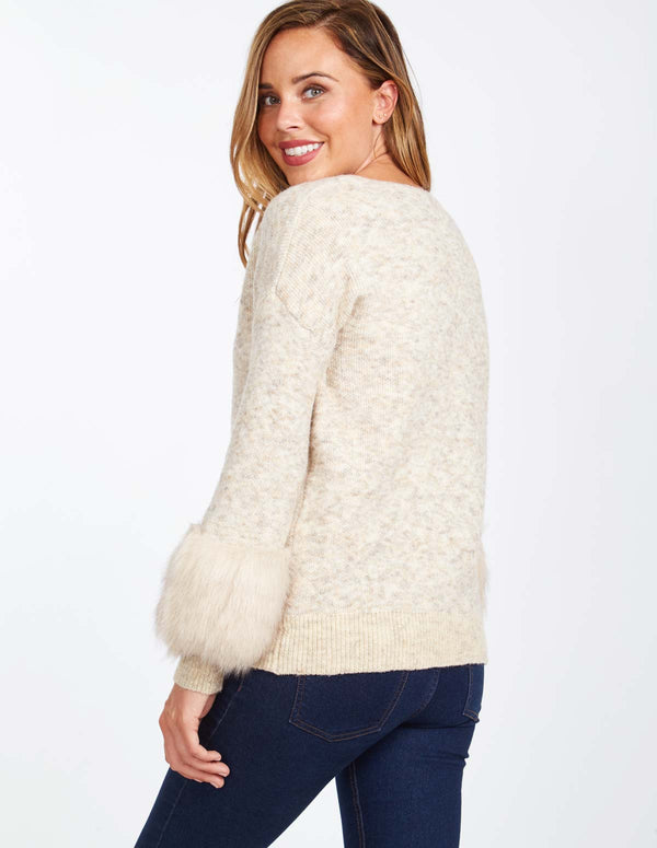 CAMILLA - Fur Sleeve Detail V-Neck Beige Jumper