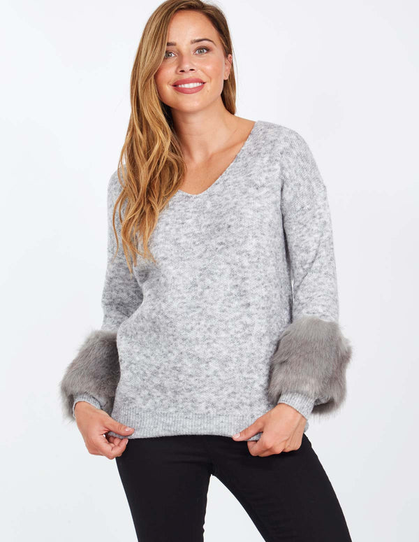 CAMILLA - Fur Sleeve Detail V-Neck Grey Jumper