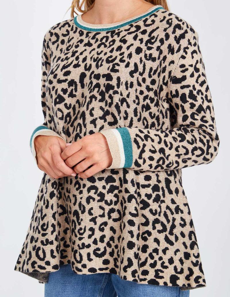 MELINDA - Wild Cat Print Neck And Sleeve Trim Beige Top