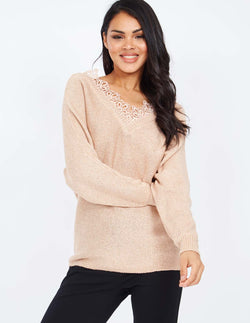 OSANNA - V Neck Front and Back Lace Detail Pink Jumper