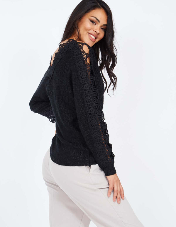 EUGENIE - V Neck Lace Sleeve Detail Black Jumper