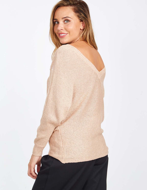 BRENDA - V Neck Lace Detail Pink Jumper