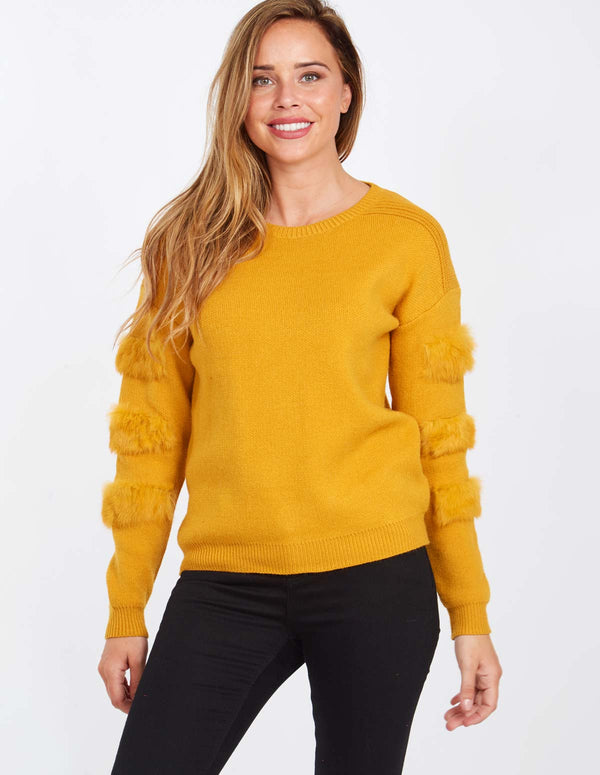 BROOKE - Fur Sleeve Detail Mustard Jumper