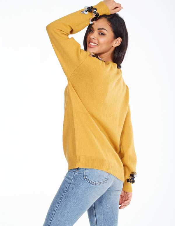 SADIE - Disc Shoulder And Sleeve Detail Mustard Jumper