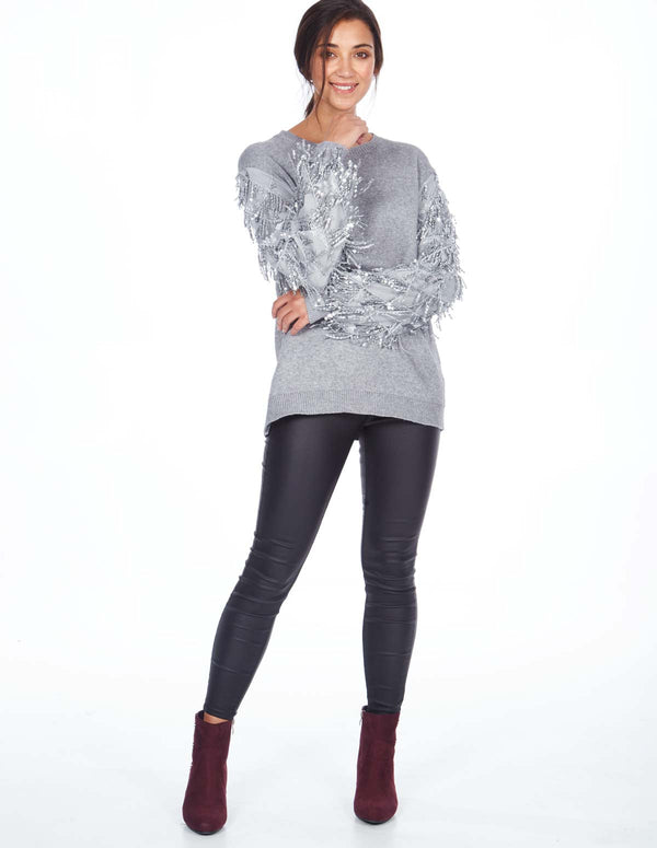 BRIDGET - Mesh Waterfall Sequin Sleeve Jumper