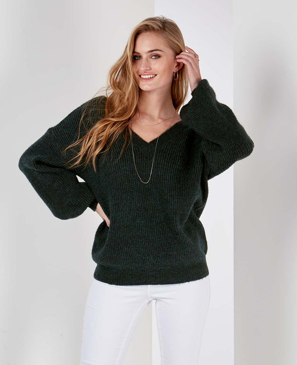 ROBIN - V Back & Front Green Jumper