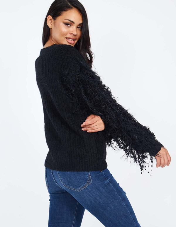PATSY - Thread Sleeve Black Jumper