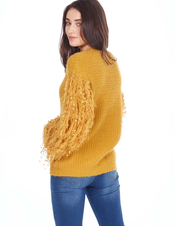 PATSY - Thread Sleeve Mustard Jumper