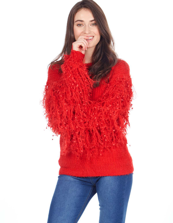 PATSY - Thread Sleeve Red Jumper