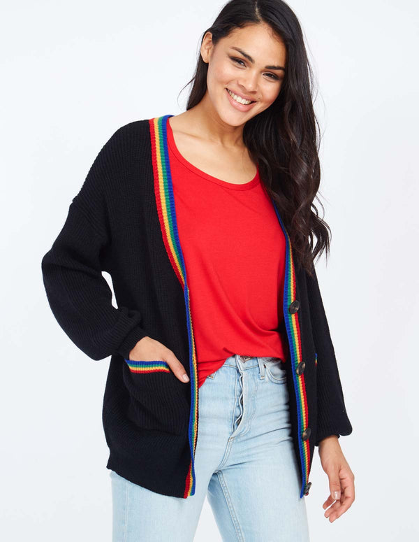 JULIET - Stripe Tipping Black Cardigan