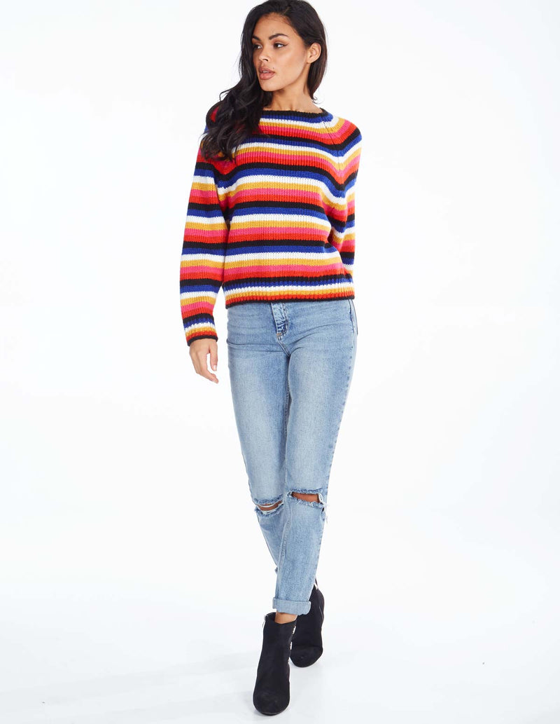 DONNA - Multi-Coloured Striped Jumper