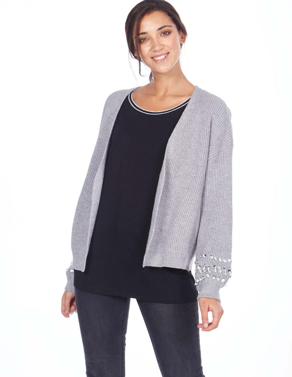 SHANNON - Diamante Sleeve Detail Grey Cardigan