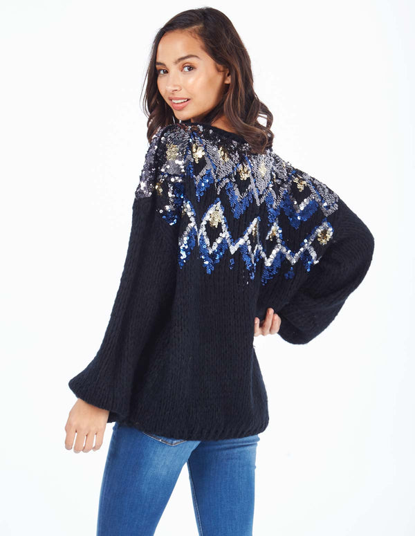 BEAH - Multi Coloured Diamond Slouch Black Jumper