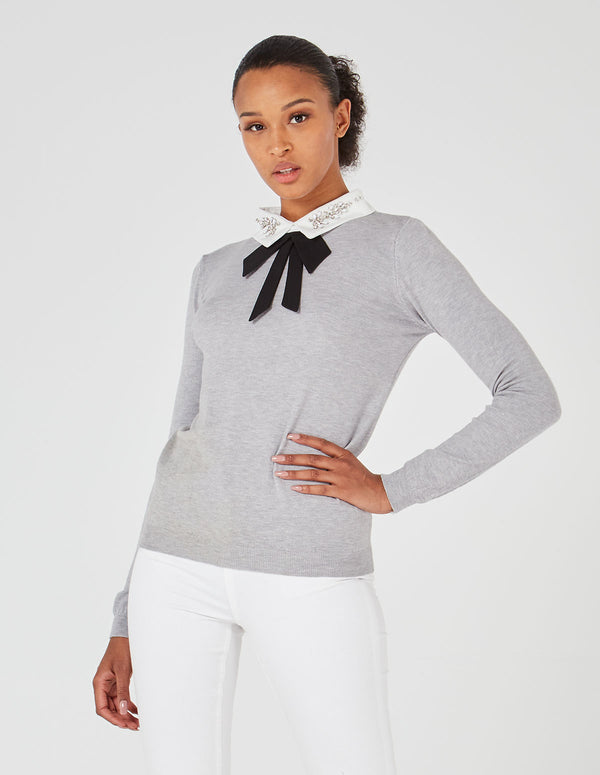 LEILA - Gem Diamond Collar Grey Jumper
