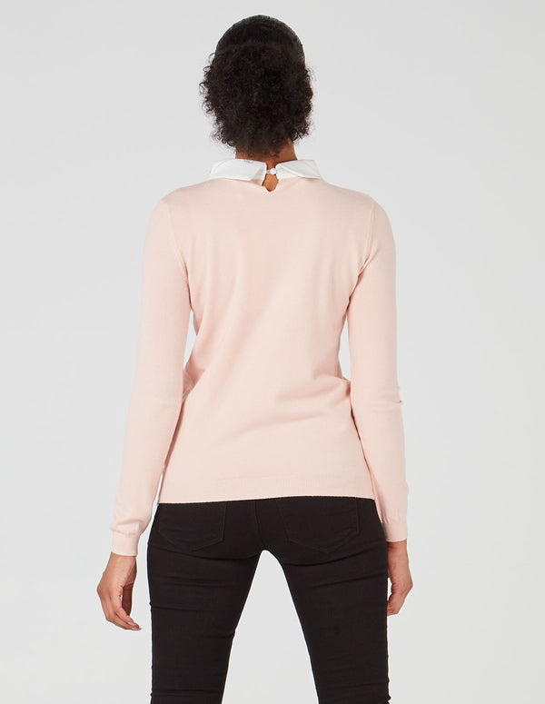 LEILA - Gem Diamond Collar Pink Jumper